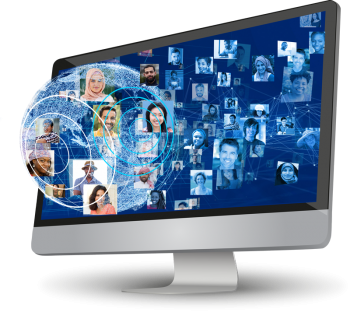 Computer monitor showing people of the world